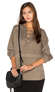 Lace Up Hoodie in Beige