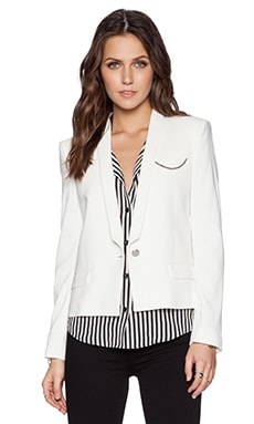 The Kooples Crepe Blazer in Ecru