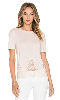 The Kooples Short Sleeved Jersey T Shirt with Lace in Nude