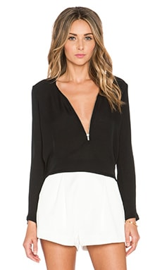 The Kooples Long Sleeved Top with A Zip Neckline in Silk in Black
