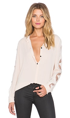 The Kooples Crepe Shirt With Lace Inserts On The Sleeves And Shoulders in Nude