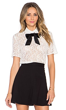 The Kooples Lace Top With Velvet Bow in Ecru