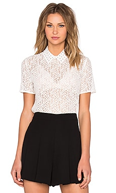The Kooples Short Sleeve Lace Top in Ecru