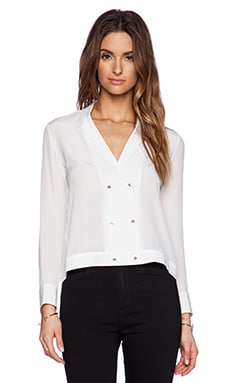 The Kooples Button Silk Blouse in White