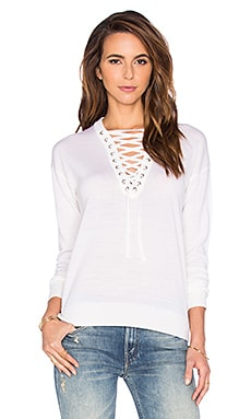 The Kooples Lace Up Top in White