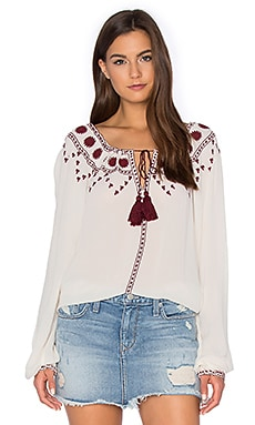 The Kooples Boho Embroidered Off The Shoulder Top in Ecru & Bordeaux