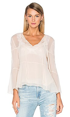 The Kooples Long Sleeve Lace Pleat Top in Bellini