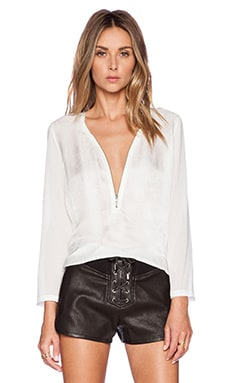 Croco Zip Blouse in Ecru
