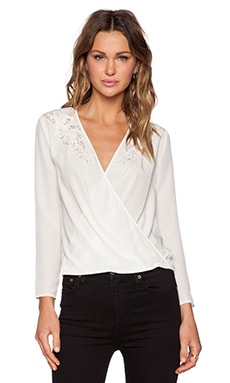 The Kooples Cross Front Broderie Top in White