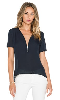 The Kooples Short Sleeved Top with A Zip Neckline in Silk in Navy
