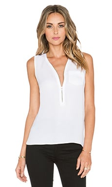 The Kooples Tank Top With A Zip Neckline in Silk in White