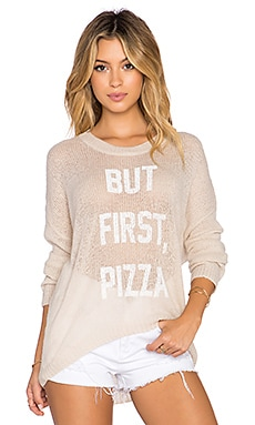 The Laundry Room But First, Pizza Beach Bummies Sweater in Khaki