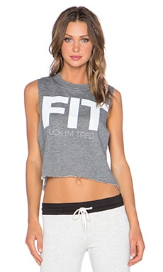 The Laundry Room Fit Crop Muscle Tee in Grey French Terry