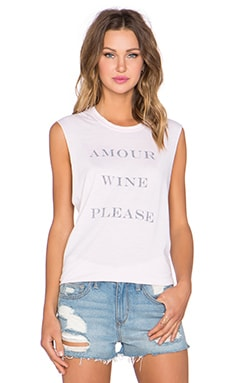 The Laundry Room Amour Wine Please Muscle Tee in Shell
