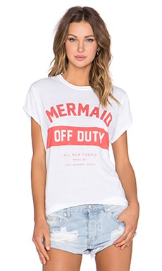 The Laundry Room Mermaid Off Duty Rolling Tee in White