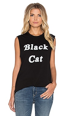 The Laundry Room Black Cat Muscle Tee in Black