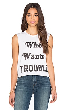 The Laundry Room Who Wants Trouble Crop Muscle Tee in White