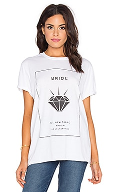 The Laundry Room Bride Label Rolling Tee in White