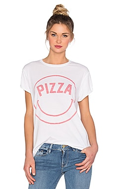 The Laundry Room Pizza Face Rolling Tee in White & Red