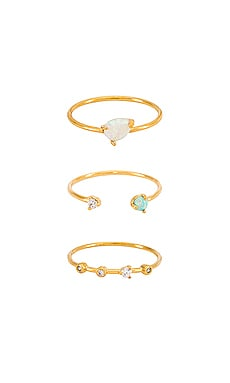 Triple Opal & CZ Ring Set TAI Jewelry $42