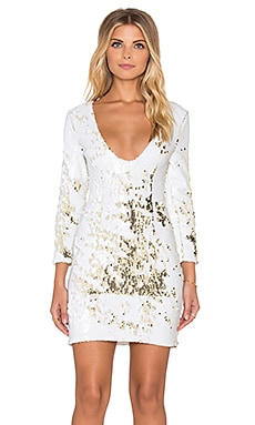 Disco Queen Dress in White & Gold