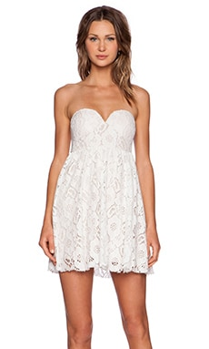 Toby Heart Ginger Summer Lace Strapless Dress in White & Cream