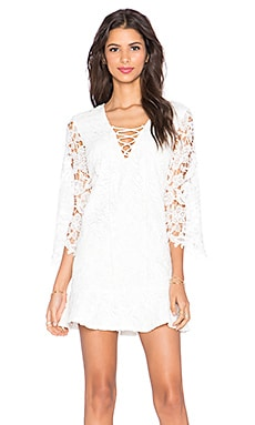 Toby Heart Ginger x Love Indie Free Spirit Lace Up Dress in White Crochet