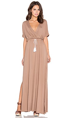 Toby Heart Ginger Billow Cross Front Maxi Dress in Mocha