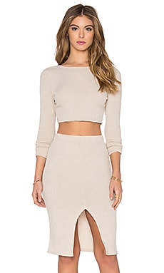 Toby Heart Ginger Anja Ribbed Long Sleeve Skirt Set in Beige