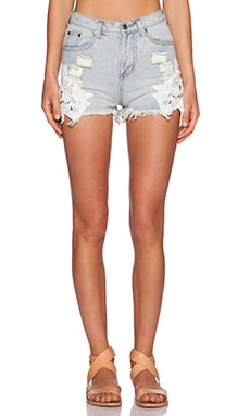 Toby Heart Ginger Cheeky Crochet Cut Off's in Light Denim & White