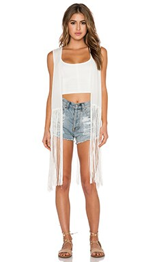 Toby Heart Ginger Wild West Tassle Vest in White