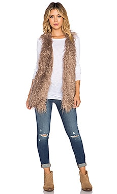 Toby Heart Ginger Kitty Faux Fur Vest in Tan
