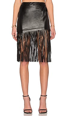 Toby Heart Ginger Angled Leatherette Midi Skirt in Black