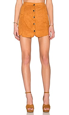 Toby Heart Ginger Luna Suede Panel Skirt in Camel