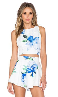 Toby Heart Ginger Enchanted Crop Top in Blue Floral