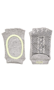 toesox Bella Half Toe Sock in Heather Grey & Lime