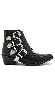 Buckled Leather Bootie em Black Polido