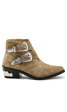 Double Bucked Suede Bootie in Khaki Suede