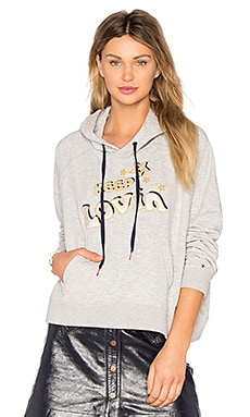 TOMMY X GIGI Slogan Hoodie in Light Grey Heather