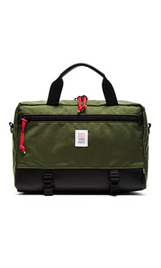 TOPO DESIGNS Commuter Briefcase in Olive & Black Leather