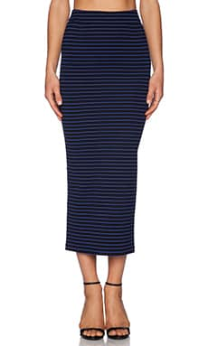 Torn by Torn by Ronny Kobo Rori Skirt in Black & Blue Stripe