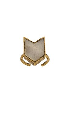 TORCHLIGHT Chevron Ring in Mother Of Pearl & Brass