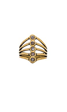 TORCHLIGHT Cassiopeia Ring in Antique Brass & Moonstone