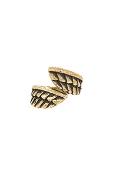 Feather Wrap Ring in Brass Ox
