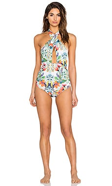 Trejoa Twisted Swimsuit in Royal White Flower