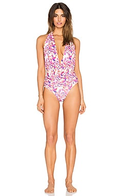 V Swimsuit in Retro Pink