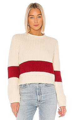 Cara Crochet Trim Sweater Birds of Paradis by Trovata $298