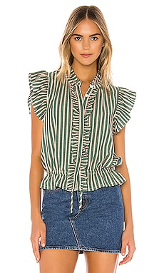 Ruffle Trim Blouse Birds of Paradis by Trovata $248 NEW ARRIVAL