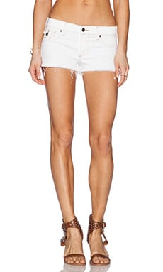 True Religion Joey Cut Off Short in Optic White