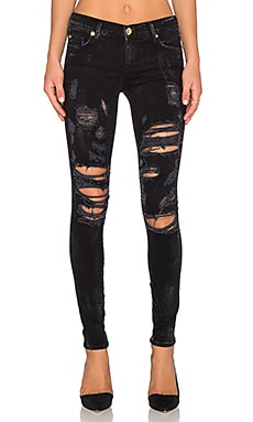 True Religion Mid Rise Halle in Black Distress Dusk